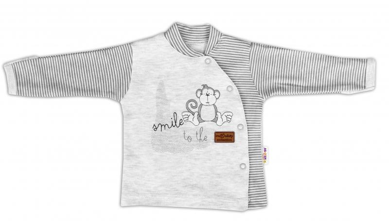Baby Nellys Bavlněná košilka Monkey zapínání bokem - sv. šedý