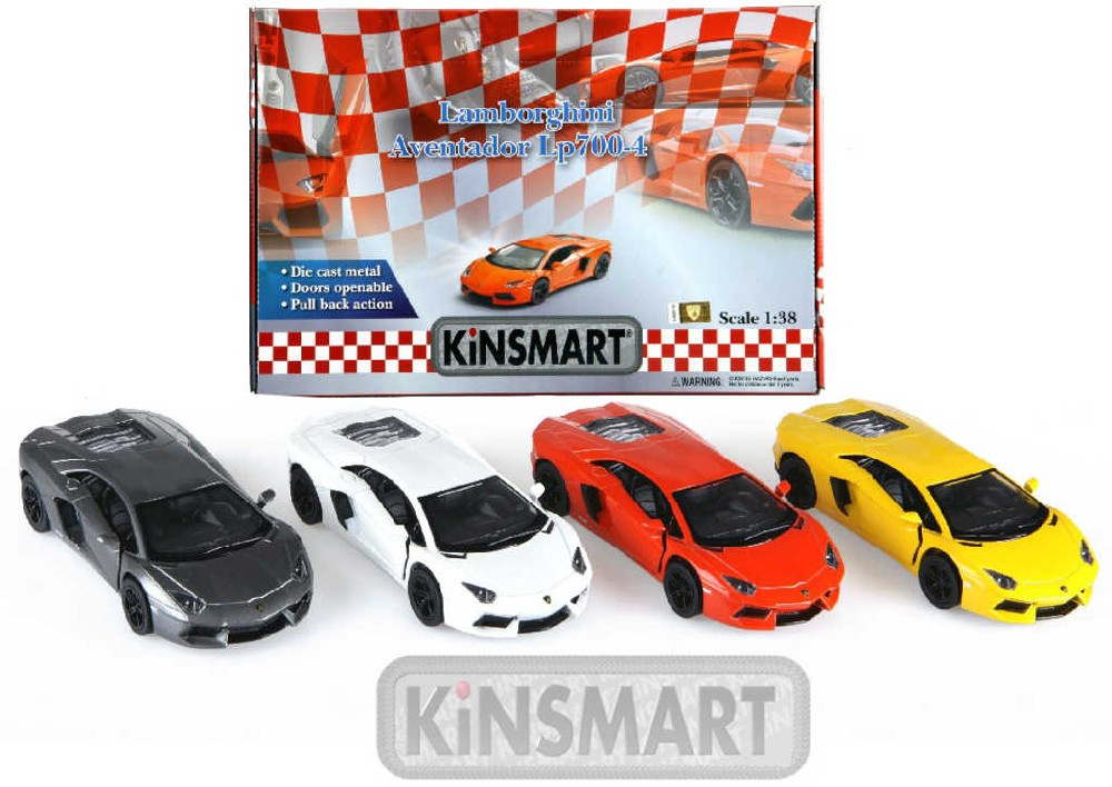 KINSMART Auto model 1:38 LAMBORGHINI AVENTADOR LP kov PB 13cm 4 barvy