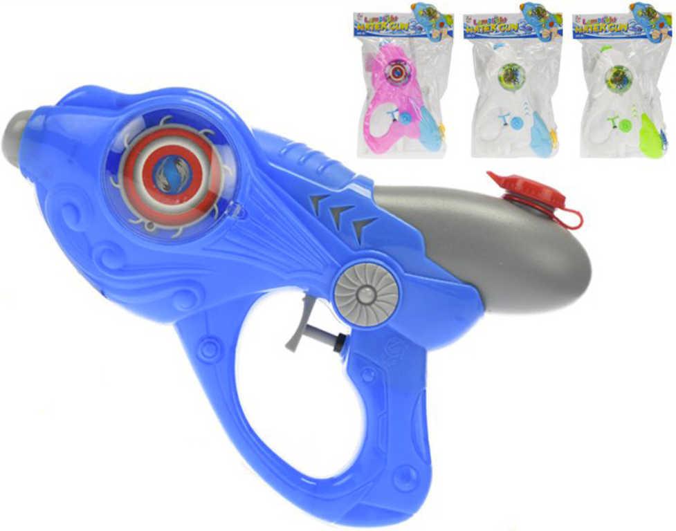 Pistole vodní 26cm na baterie Světlo různé barvy