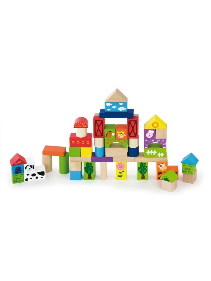 Dřevěné kostky pro děti Viga Farma 50 dílů - multicolor