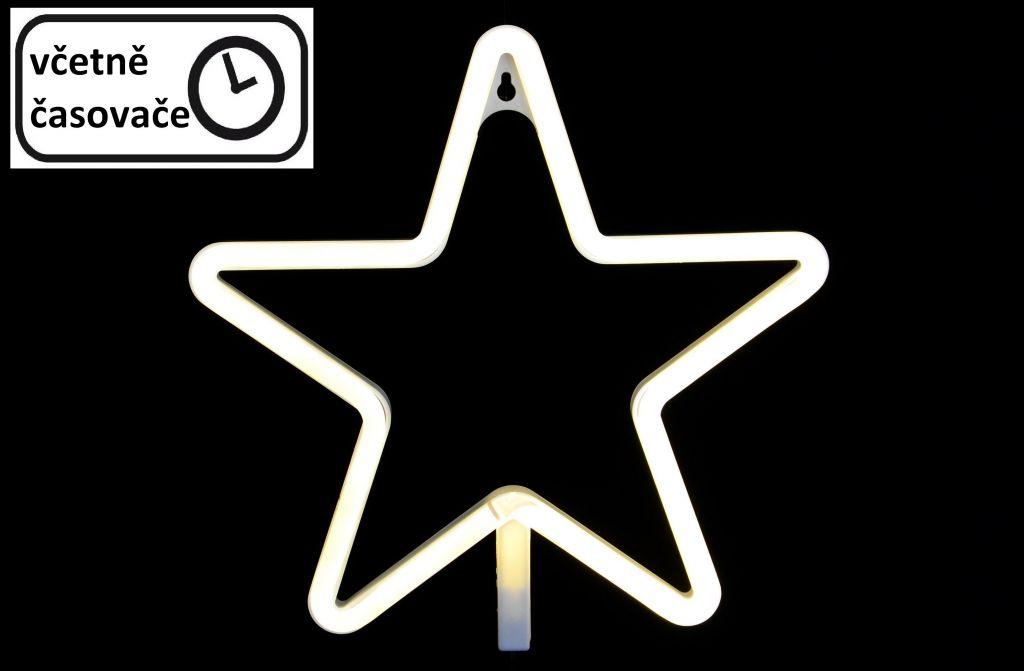 Vánoční dekorativní osvětlení - neonová hvězda - 120 LED teple bílá