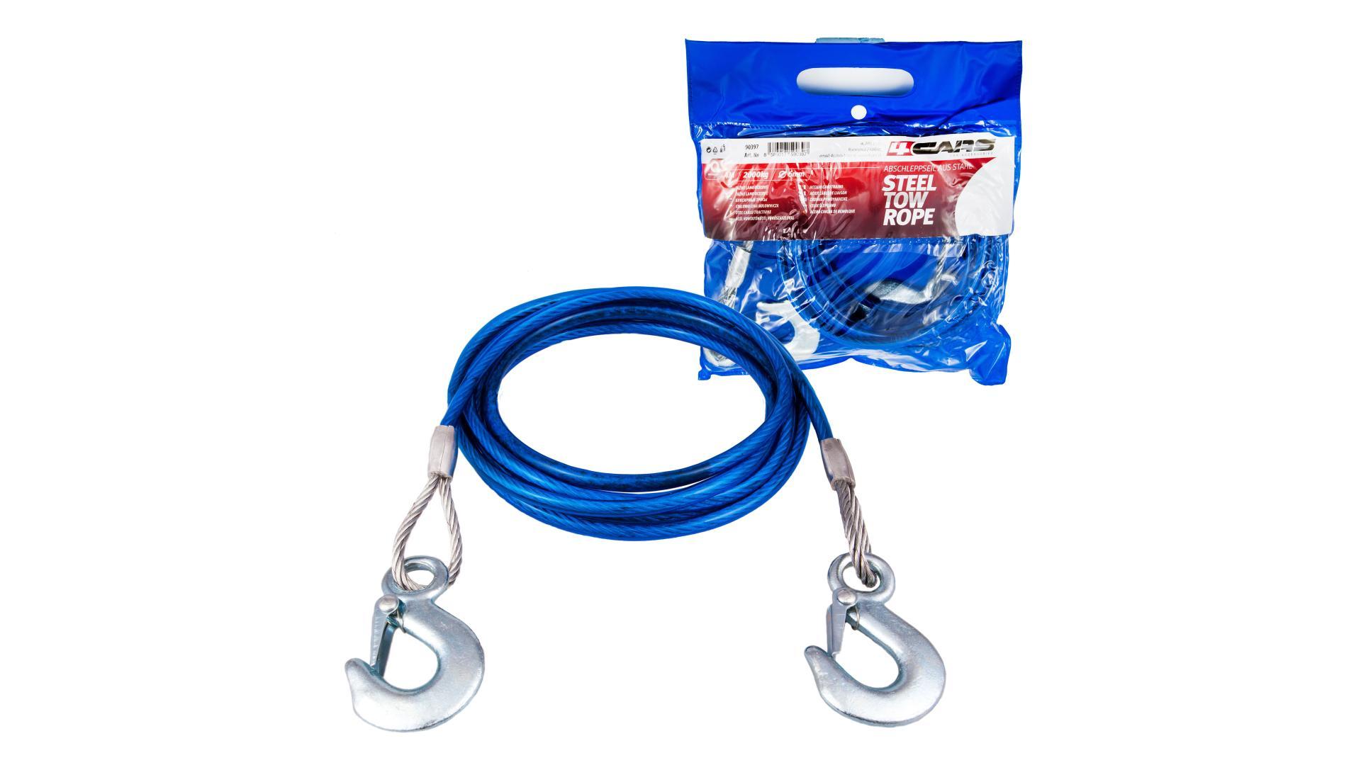 4CARS Tažné lano ocelové 2t, 4m, 6mm