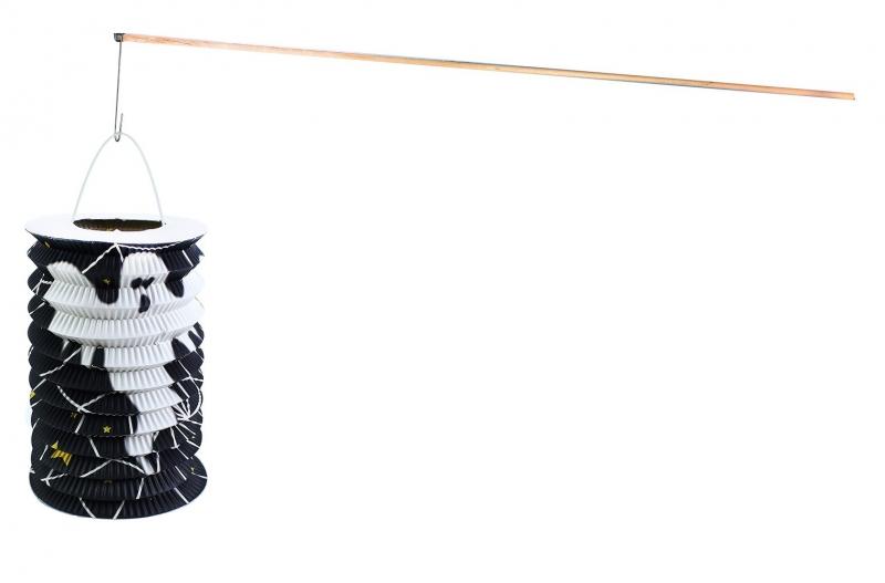 Lampion HALLOWEEN s dřevenou hůlkou, 15 cm