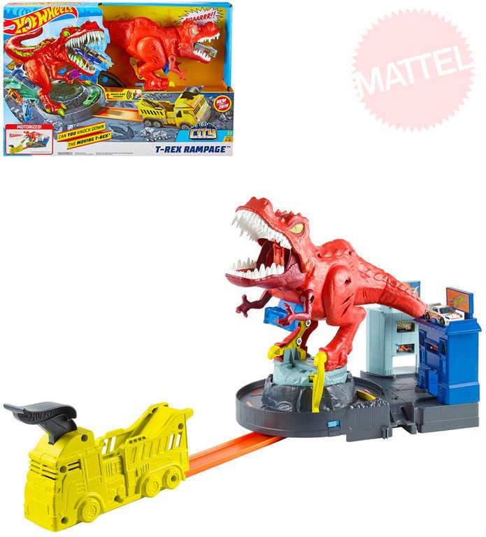 MATTEL HOT WHEELS City T-Rex řádí herní set s autíčkem na baterie