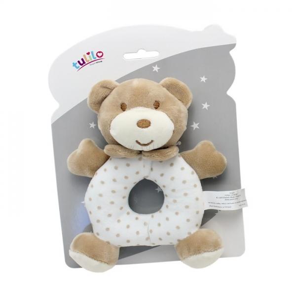 Plyšová hračka Tulilo s chrastítkem Medvídek, 17 cm - sv. hnědý, K19