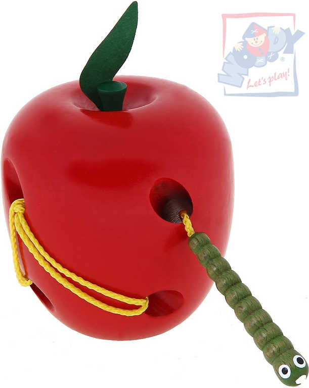 WOODY DŘEVO Provlékadlo Jablko s červíkem