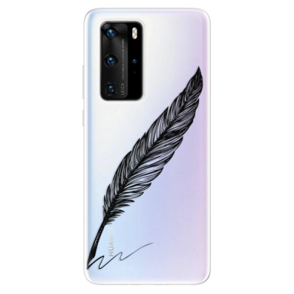 Odolné silikonové pouzdro iSaprio - Writing By Feather - black - Huawei P40 Pro