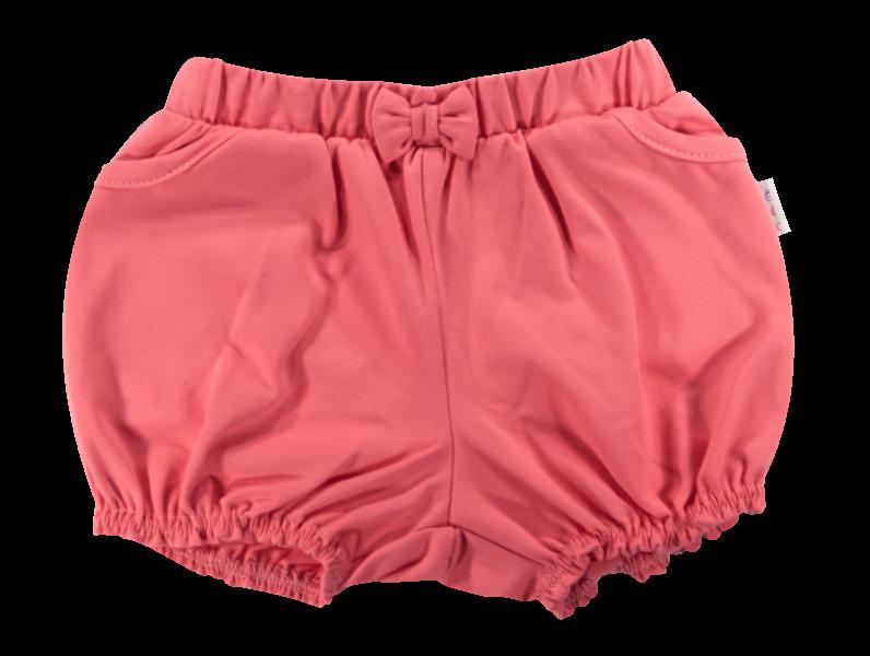Kojenecké bavlněné kalhotky, kraťásky s mašlí Mamatti Baletka - korálové, vel.