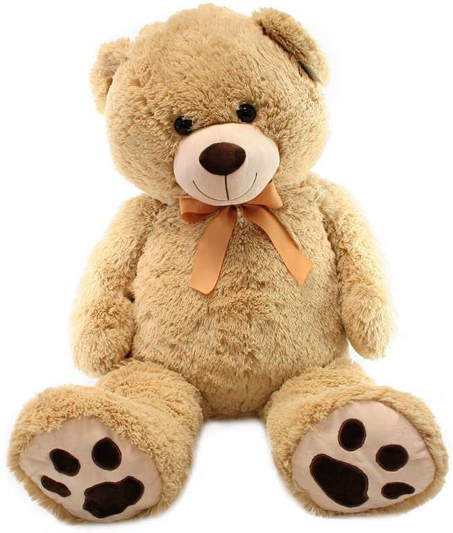 PLYŠ Medvěd hnědý světlý 100cm s mašlí *PLYŠOVÉ HRAČKY*