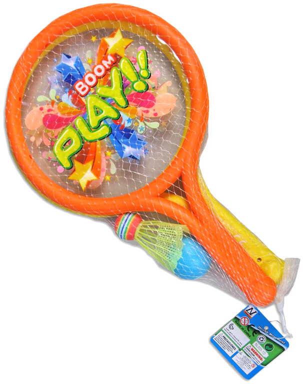 Hra Boom Boom set 2 rakety + 2 míčky na soft tenis a badminton v síťce plast