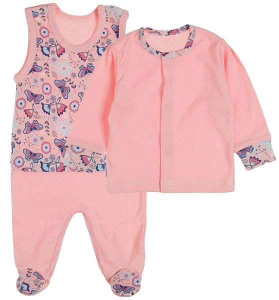 MBaby 2 - dílná soupravička košilka + dupačky Motýlci - růžová, vel. 68 - 68 (4-6m)