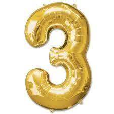 Nafukovací balónek maxi číslo 3 - zlatý