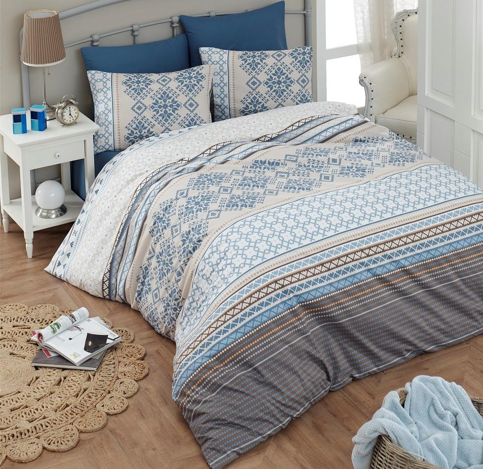 Povlečení francouzské bavlna 240x200,70x90 Damian blue, Výběr zapínání: