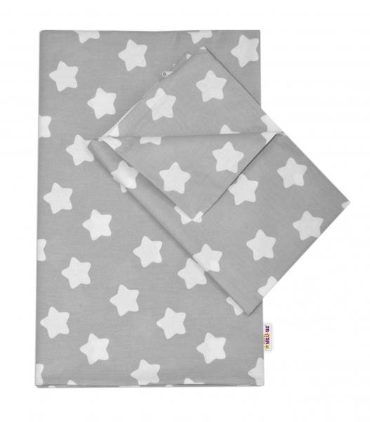 Baby Nellys Bavlněné povlečení 140 x 200/70x80 - Sweet Stars - šedá - 140x200/70x80cm