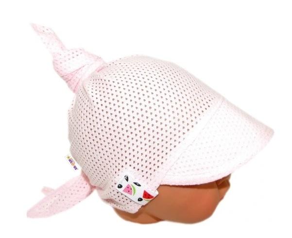 Baby Nellys Dětský síťkovaný šátek s kšiltem na zavazování, meloun - sv. růžová - univerzální