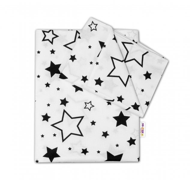 2-dílné bavlněné povlečení - Černé hvězdy a hvězdičky