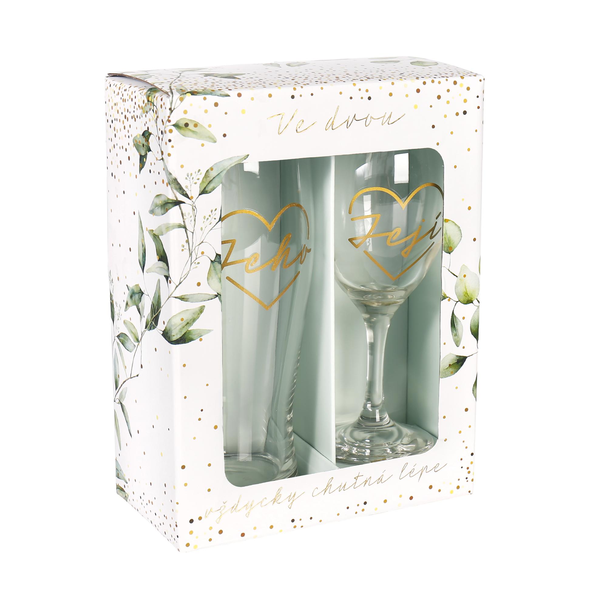 Svatební set sklenice s půllitrem