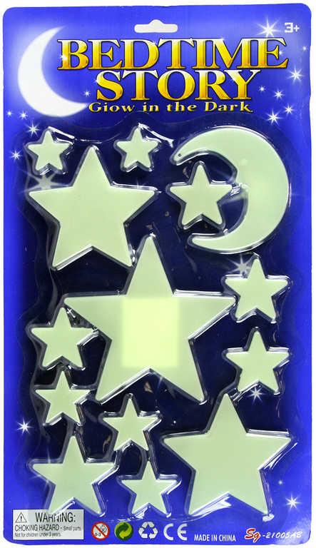 Hvězdná obloha dekorace na stěnu ve tmě svítící hvězdičky + měsíc