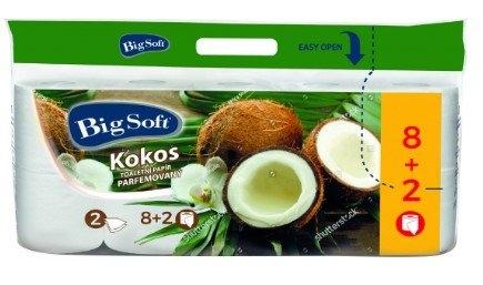 Kokos 2vrstvý toaletní papír, role 200 útržků, 10 rolí