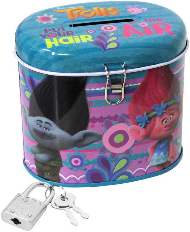 Pokladnička dětská ovál Trollové set se zámkem a 2 klíčky plechová