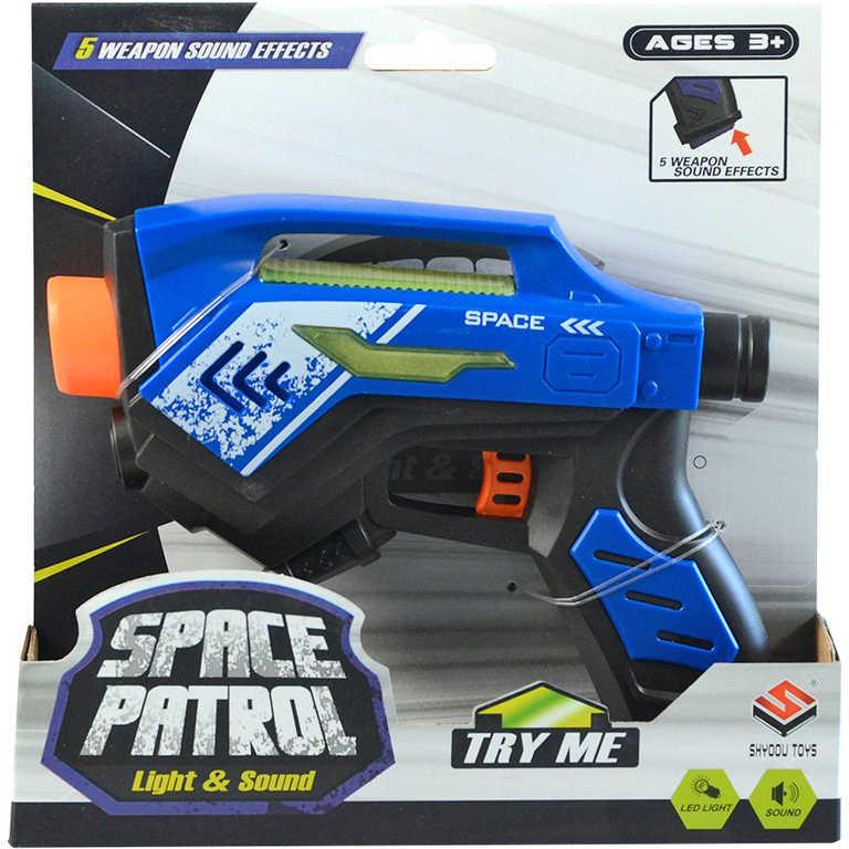 Pistole vesmírná na baterie 17cm LED Světlo Zvuk různé barvy plast