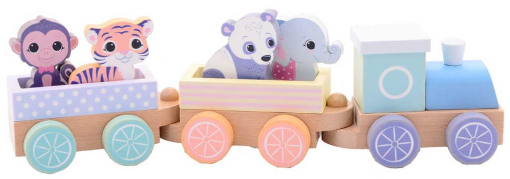 DŘEVO Baby vláček set mašinka + vagonek 2ks se 4 zvířátky pro miminko