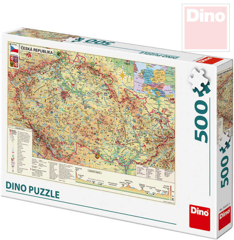DINO Puzzle skládačka Mapa české republiky ČR 500 dílků 47x33cm
