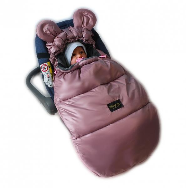 Baby Nellys nepromokavý fusak s oušky MIKI, fleece Velvet 90 x 50 cm - pudrová
