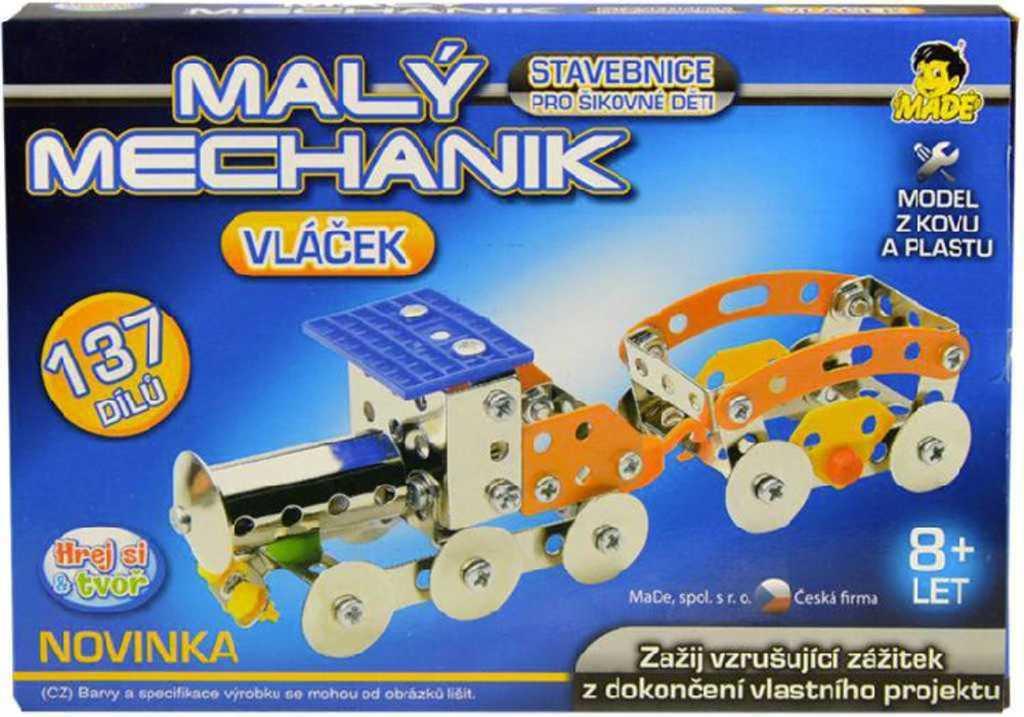 Malý mechanik 137 dílků *Stavebnice typu Merkur z kovu a plastu*