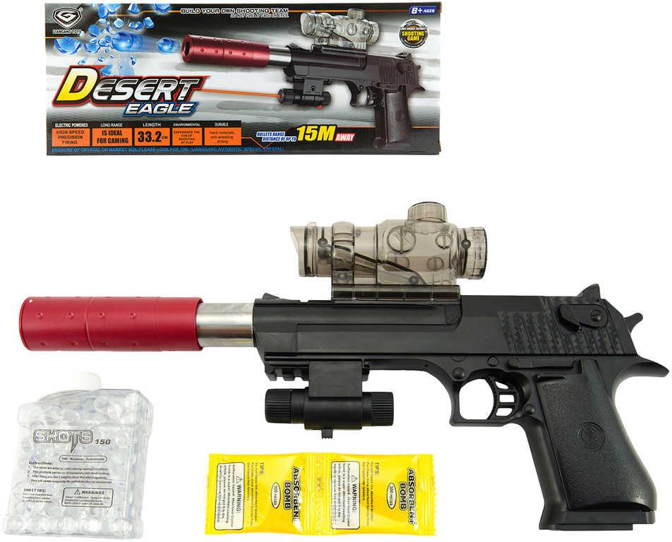 Pistole Desert Eagle 33cm na vodní kuličky 9-11mm na baterie Světlo