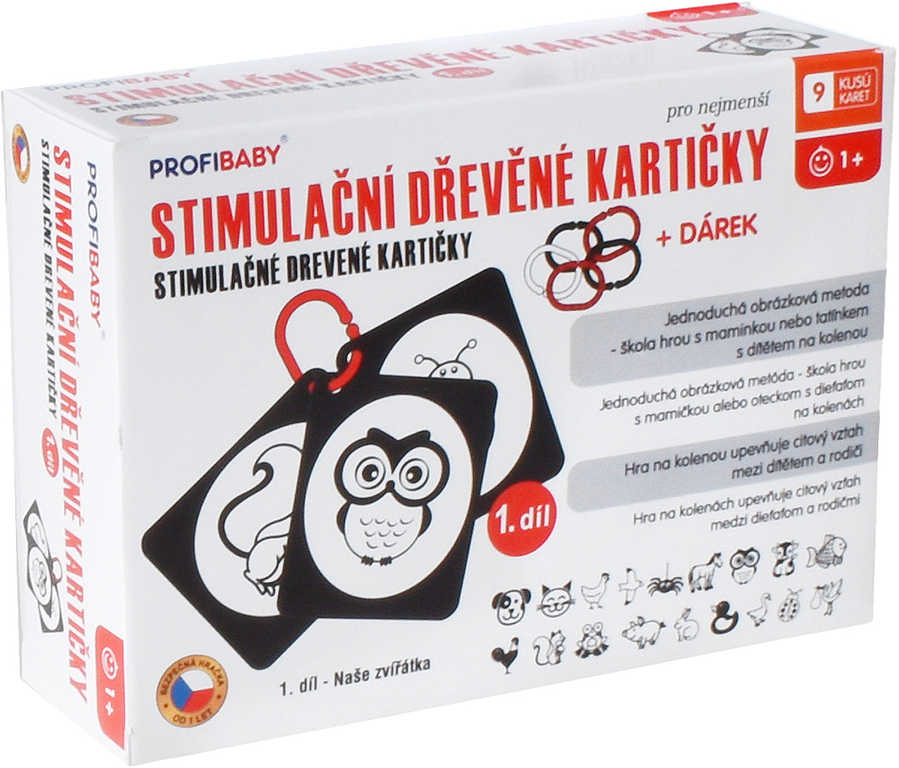 PROFIBABY DŘEVO Baby stimulační kartičky Naše zvířátka set 9ks
