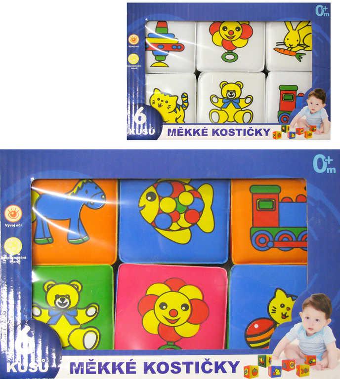 Baby soft kostky pěnové barevné set 6ks s obrázky různé druhy