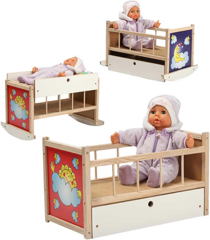 DŘEVO Postýlka kolébka pro panenky miminko 3v1 přebalovací pultík