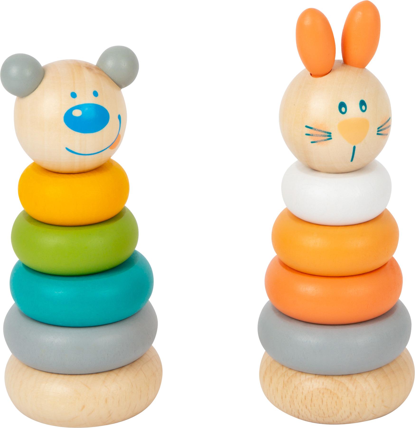 Small Foot Nasazovací věž pastelová 1 ks králiček