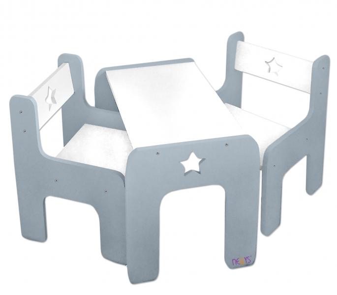 NELLYS Sada nábytku Star - Stůl + 2 x židle - šedá s bílou, D19
