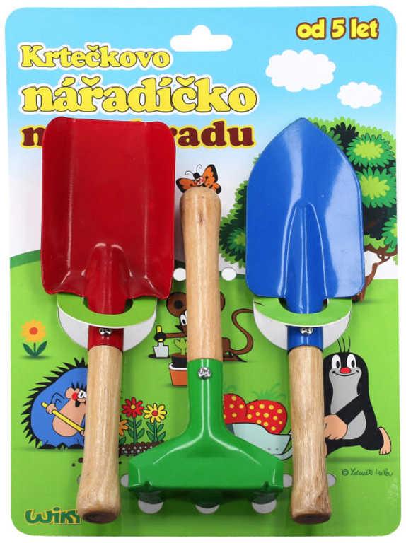 Nářadí dětské dřevo/kov zahradní set 3ks Krtek (Krteček) Krtečkovo nářadíčko