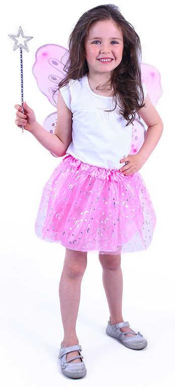 KARNEVAL Šaty tutu růžový motýl set s křídly a hůlkou (pas 44-72cm) KOSTÝM