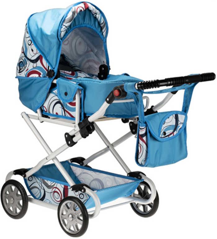 Kočárek Natalia modrý WL2 s taškou na madle pro panenku miminko