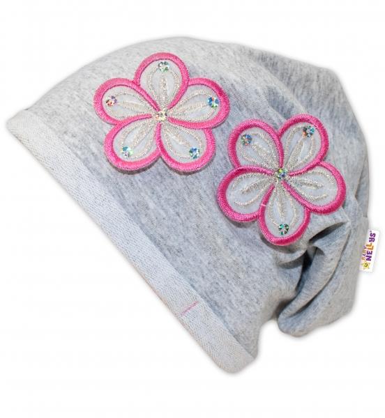 Bavlněná čepička Květinky Baby Nellys ® - sv. šedé/květinky růžové - 48/52 čepičky obvod