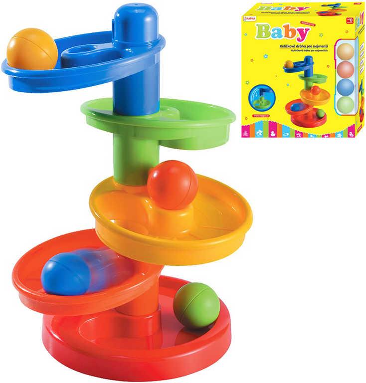 Baby dráha kuličková plastová set 5 dílků + 4 kuličky pro miminko v krabici