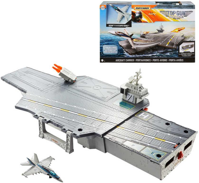 MATTEL Matchbox Top Gun: Maverick letadlová loď set s letadlem a doplňky