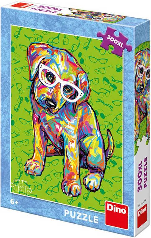 DINO Puzzle XL 300 dílků Štěňátko s brýlemi skládačka 33x47cm