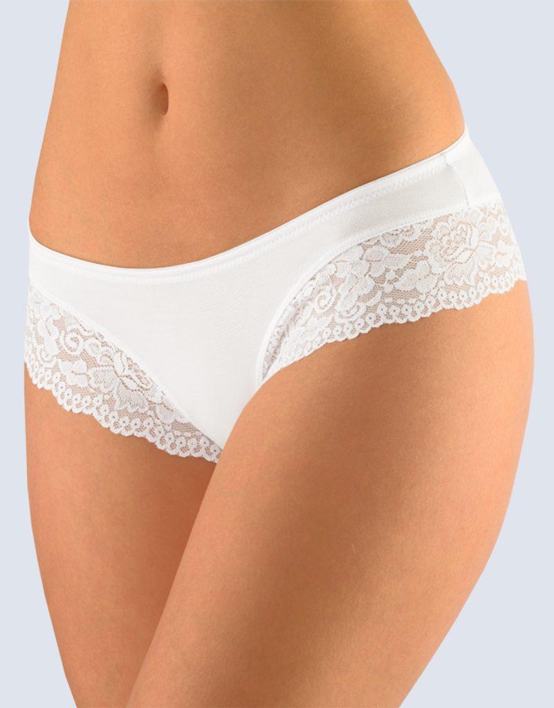 GINA dámské kalhotky francouzské, šité, bokové, s krajkou, jednobarevné Sensuality 14103P - bílá - 46/48