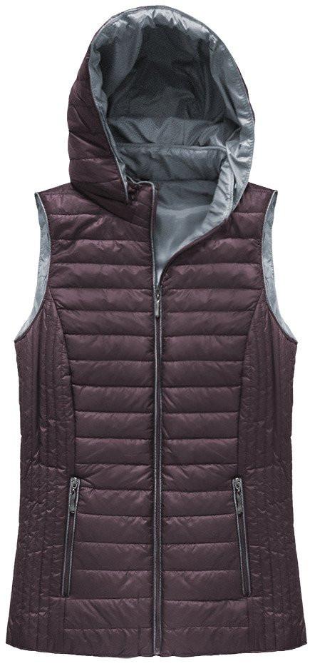 Prošívaná vesta ve vínové burgundské barvě s kapucí (B1067-30)