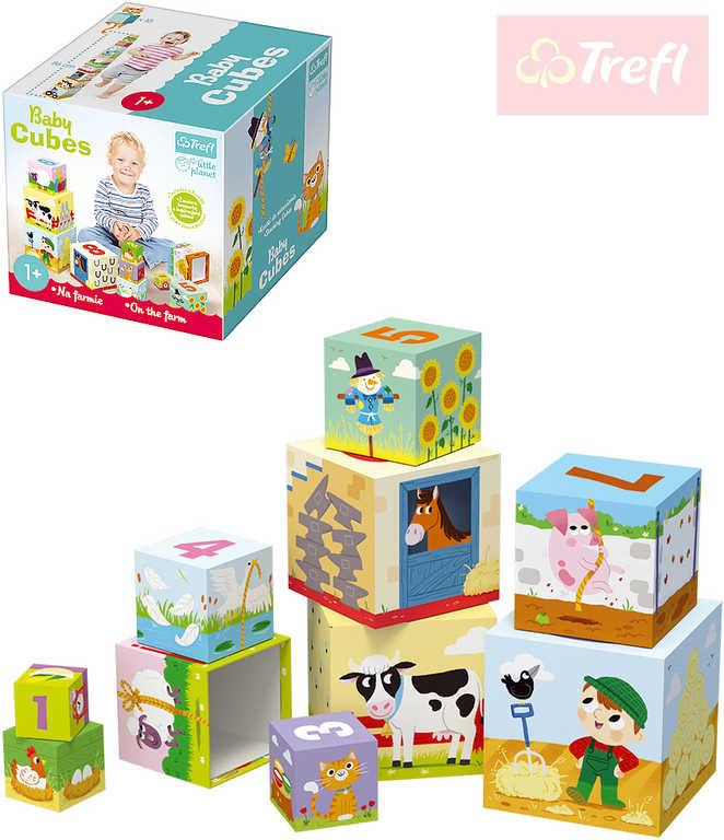 TREFL Baby kostky kartonové Na farmě kubus stohovací ilustrovaný pro miminko