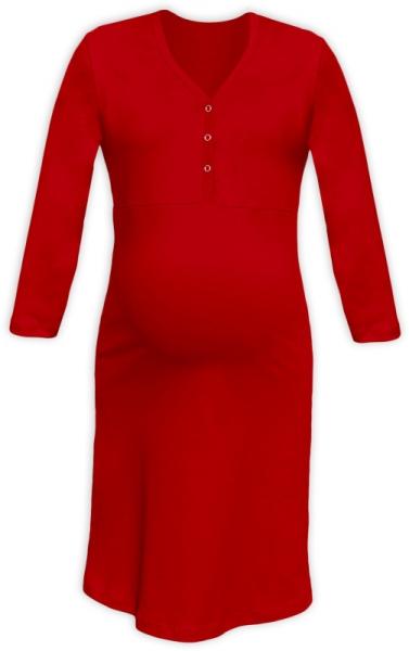 JOŽÁNEK Těhotenská, kojící noční košile PAVLA 3/4 - červená - L/XL