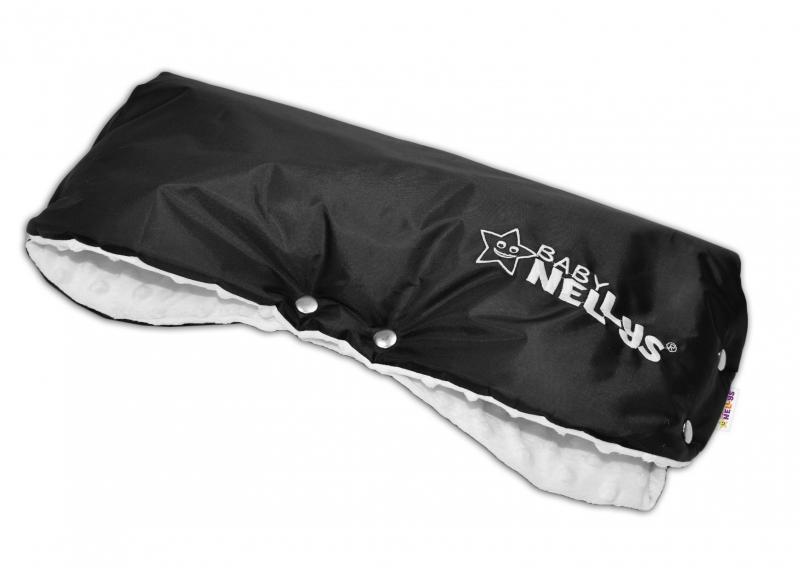 Rukávník ke kočárku Baby Nellys ® minky - bílá/černý