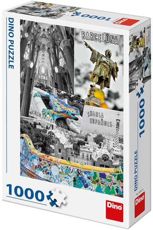DINO Puzzle1000 dílků Barcelona Španělsko foto koláž 47x66cm skládačka