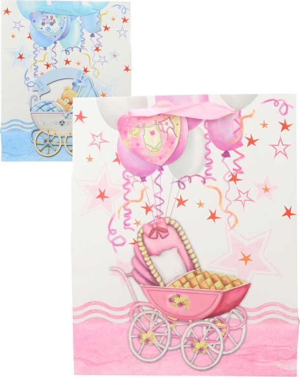 Baby taška dárková papírová 26x32 cm pro miminka motiv kočárek