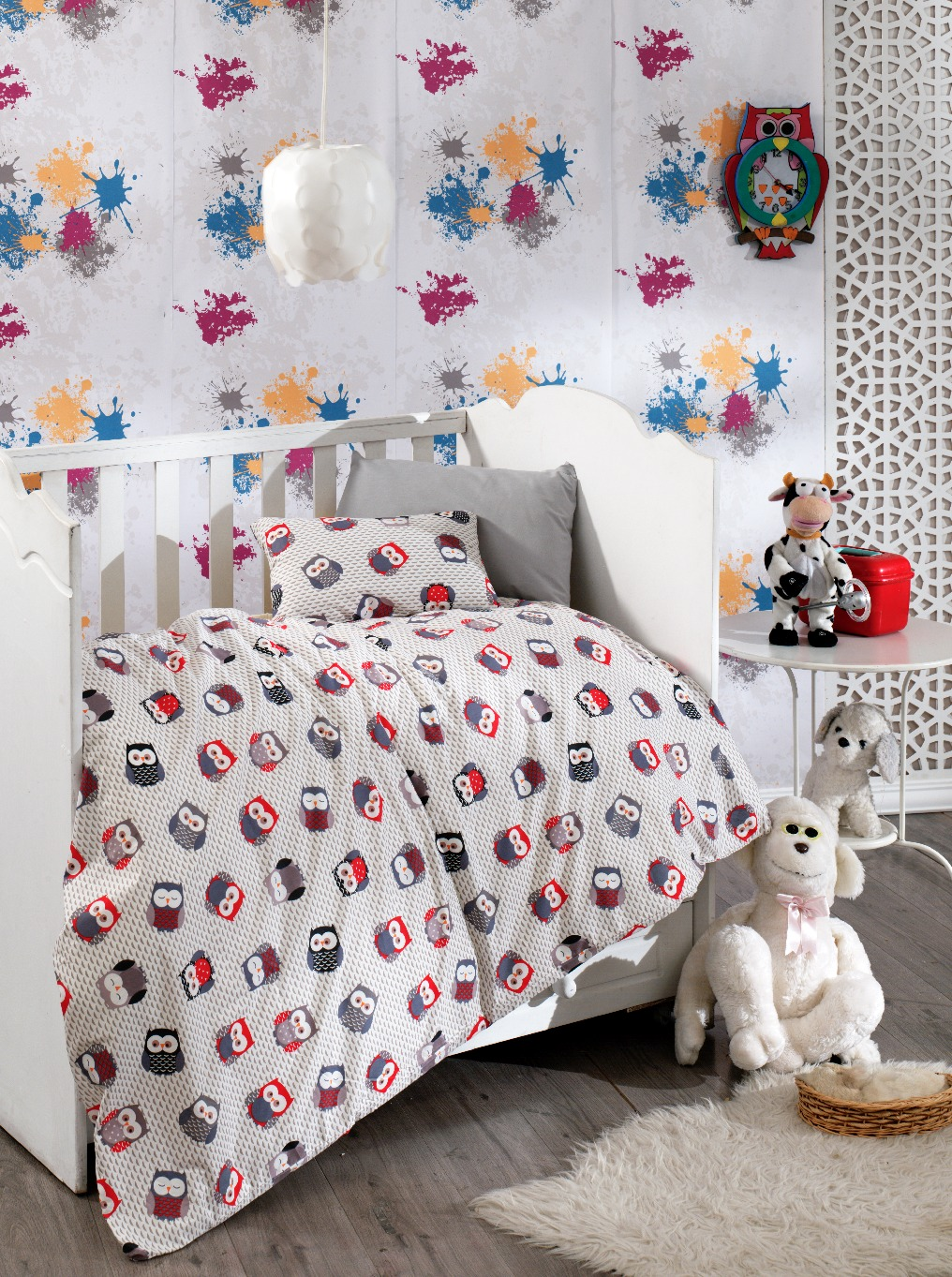 Povlečení dětské bavlna malá postýlka 90x135+45x60cm sovičky, Výběr zapínání: nitěný knoflík